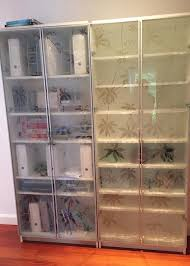 2 x ikea billy bookcase with frosted glass doors
