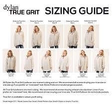 True Grit Size Chart Dylan Womens Shearling Tipped Pile Stadium Pullover