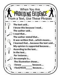 Text Based Evidence Anchor Charts Mr Conners Place