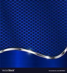 Blue Metal Background Perforation And Chrome Vector Image