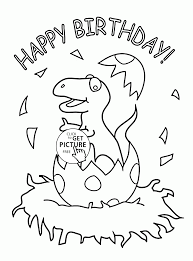 Little Dinosaur And Happy Birthday Coloring Page For Kids Holiday