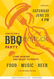 Barbecue Party Vector Flyer Poster Design Stock Vector