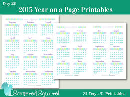 Day 26 2015 Year On A Page Printable Calendars Scattered