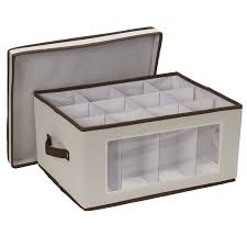 wine glass storage box. Amazoncom Household Essentials 542 Vision Storage Box With Lid And Handles Wine BalloonStyle Glasses Natural Canvas Brown Trim Home Inside Glass