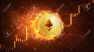 Golden Ethereum Coin In Fire With Bull Trading Stock Chart Ethereum
