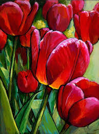 paintings red tulips