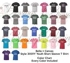 T Shirt Color Chart Bella Canvas 3001y Color Chart Psd Digital File Shirt Color Chart Bella And Canvas Youth Childrens Colors Tshirt Light Dark