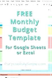 Monthly Budget Worksheets Free Template Cute Design In Excel ...