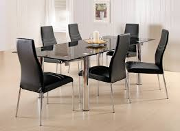 outstanding dining room decoration with round glass top dining table sets inspiring modern black dining