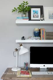 appealing white floating shelves ikea with tv stand and unique swing arm lamp