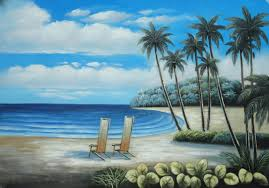 two chairs at the hawaii beach with palm trees oil painting seascape america naturalism 24 x 36 inches with frame