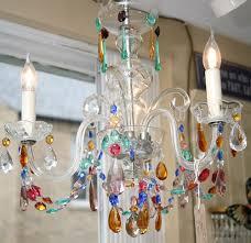 1930s 3 arm coloured glass chandelier antique