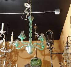 lovely green murano glass chandelier clean modern lines newly wired ul listing