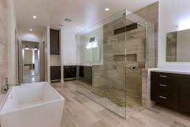 Contemporary Master Bathroom with Signature Hardware - Eaton Acrylic  Freestanding Tub, Moda Horizontal Cabinet Door