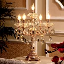 2019 5 lights gold candle holders table lamp large wedding candelabra restaurant transpa crystal candlestick big led work light from kirke