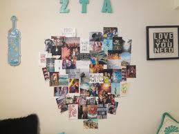 pictured above is a heart shaped collage my friend savannah who lives next door to me designed on her wall with a combination of her own pictures and cute