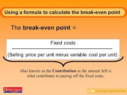 using a formula to calculate the break even point