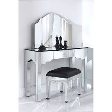 rectangle mirror vanity desk with black glass top and three mirror panels added by square mirror