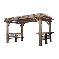 backyard discovery oasis 14 ft x 10 ft barnwood cedar wooden pergola