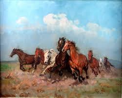 wild horses run the hortobagy great plains
