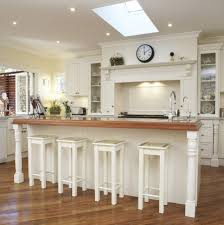 amazing white wood furniture sets modern design: contemporary white kitchen set and ceiling recessed lights plus wood countertop also decorative bar stools