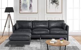 modern leather sectional sofa l shape couch 93 7 w camel com
