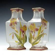 art nouveau pair of large baccarat enamelled vases