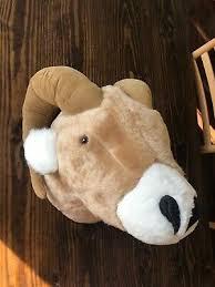 RARE RAM HORNED SHEEP Head Dianne Shapiro Plush SOFT SCULPTURE ...