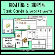 Teaching Budgeting Worksheets Budgeting And Shopping Worksheets And Task Cards By Teaching Special Ed