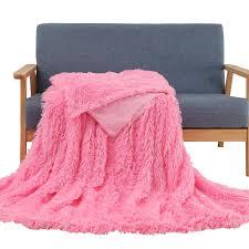 Light Pink Fur Throw Blanket Faux Fur Throw Blanket Super Soft Shaggy Longfur Throw Blanket Snuggly Fuzzy Faux Fur Lightweight Warm Elegant Cozy Plush Microfiber Blanket For