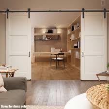 voilamart 4m q235 steel black sliding barn door hardware track set home office bedroom interior closet