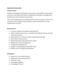 Senior Programmer Job Description Unique YouAppi Senior Algorithm Developer Job Notice
