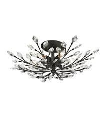 elk 11772 6 crystal branches 6 light 24 inch burnt bronze semi flush ceiling light