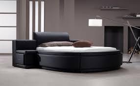 Owen Black Leatherette Round Bed w/ Storage
