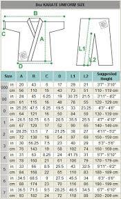 Karate Belt Size Chart Martia Arts Uniform Size Chart Size Chart Chart Art