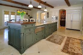 color ideas for kitchen. Kitchen:Vintage Long Blue Kitchen Island Color Ideas Using Wooden Countertop Also Glass Flower Vase For