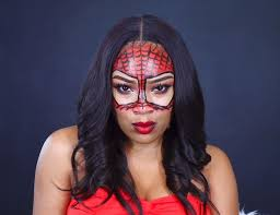 this the perfect super hero inspo makeup add this spider mask to any cute y outfit and you are ready for the night this look is great for anyone
