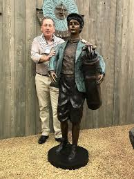 bronze sculpture golfer lifesize statue