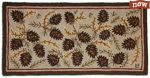 northwood cones 2 x 4 hand hooked wool rug