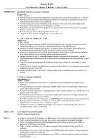 Social Worker Resume Sample Clinical Social Worker Resume Samples Velvet Jobs 39