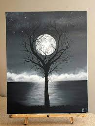 painting by j baldwin unity acrylic black and white tree surreal moon painting 16x20