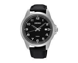seiko men s hand watch quartz black leather strap black dial 100 meter water resistant