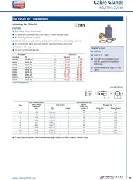Bicon Cable Gland Selection Chart Power Cable Accessories Catalogue Price List Pdf Free