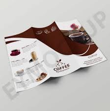 2 Folded Brochure Template Premium Cafe Coffee Tri Fold Brochure Template Eymockup