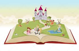 open book with cartoon princesses and princes stock vector