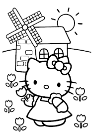 Hello Kitty Bij De Molen Hello Kitty Kleurplaten Kleurplaat