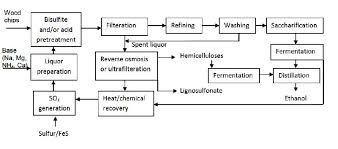 Ethanol Production Process Flow Chart Production Of Biofuels From Cellulose Of Woody Biomass