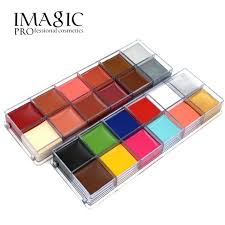 imagic brand 12 colors flash tattoo palette face body paint oil smudge proof glitter body painting tattoo makeup art tool
