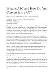 Estimated Average Glucose Chart Doc What Is A1c And How Do You Convert It To Eag Charles