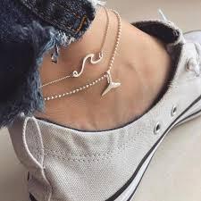 XUYU <b>2PCS</b>/<b>Set</b> Silver Color wave <b>Anklets</b> For <b>Women</b> Fashion ...